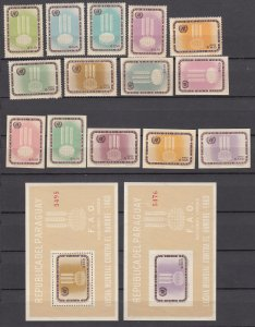 Z3005 1963 paraguay set mnh + imperfs & s/s # 760-66a freedom from hunger