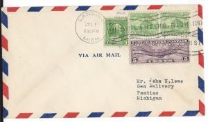 United States, C12, 705, 728, Postal History Air Mail Cover, Lansing-Pontiac, U