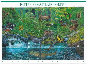USA 3378 MNH SHEET PACIFIC COAST RAINFOREST
