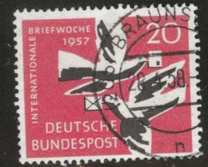 Germany Scott 775 used 1957 Carrier Pigeon Bird stamp
