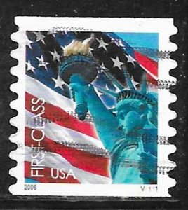 USA 3968: (39c) First Class Flag and Liberty, plate no single, used, VF