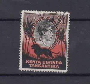 Kenya Uganda & Tanganyika 1938/54 £1 Red Black SG150a VFU JK2429