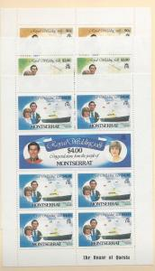 Montserrat, 465-470, Royal Wedding 1981 Sheets (7), MNH