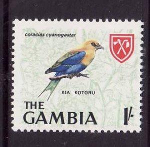 Gambia-Sc#222-unused NH 1sh blue-bellied roller-Birds-id3-1966-