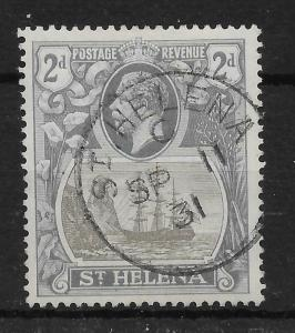 ST.HELENA SG100c 1923 2d GREY & SLATE CLEFT ROCK VAR USED
