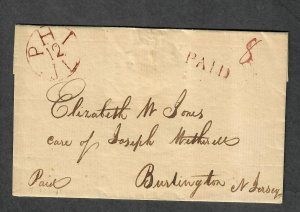 1804 Philadelphia Stampless Cover+Contents Ex:Barwis