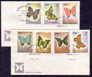 Nicaragua, Scott cat. 1567-1573. Butterflies issue on a First day cover.