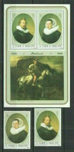 H1038 1983 SAO TOME & PRINCIPE ART REMBRANDT MICHEL 25 EURO #817-18+BL118 MNH