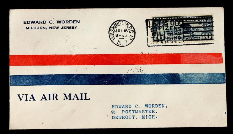 US Stamp Sc# C10 FDC WORDEN CACHET FDC Washington DC Jun 18, 1927