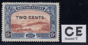 British Guiana, SG 224f, MHR Shaved E variety