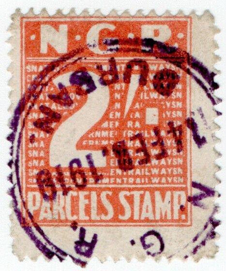 (I.B) Natal Government Railways : Parcel Stamp 6d (Durban)