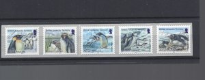 British Antarctic Territory (BAT), C43a, Getoo Penquins SA Coil Strip of 5, MNH