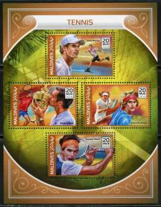 MALDIVES 2018 TENNIS MURRAY, FEDERER, THIEM & ZVEREV SHEET MINT NH
