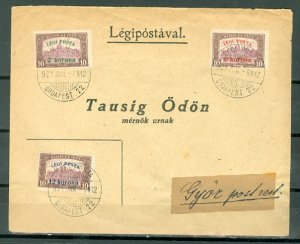 HUNGARY 1921 AIR #C3-C5 SET on CLEAN COVER TO GYOR