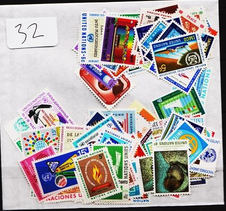 United Nations. Mixture. 100 stamps. May be duplication. Unmounted Mint
