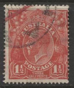 Australia - Scott 26 - KGV Head -1914 - FU - Wmk 9 - 1.1/2p Stamp3