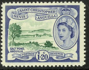 ST KITTS NEVIS 1954-57 QE2 $1.20 SALT POND Pictorial Sc 132 MLH