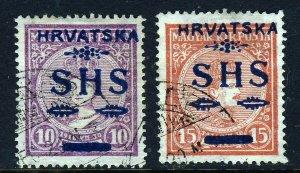 CROATIA 1918 Overprinted HRVATSKA SHS Hungary Issues 10f. & 20f. Mi.#64 & 65 VFU