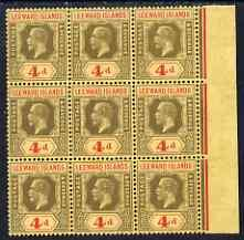Leeward Islands 1912-22 KG5 4d MCA marginal block of 9 un...
