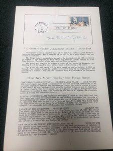 Mrs. Robert H. Goddard Autograph On First Day Ceremony Program