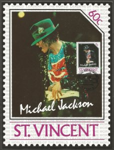 ST. VINCENT STAMP,1985 MICHAEL JACKSON 60C STAMP.FIRST DAY OF ISSUE.MAXI CARD