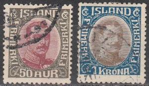 Iceland #125-6 F-VF Used CV $16.00 (S1718)