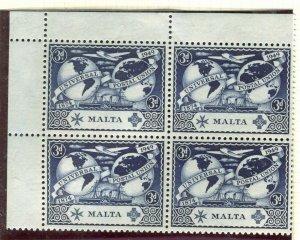 MALTA; 1949 early UPU issue fine Mint CORNER BLOCK of 3d. value