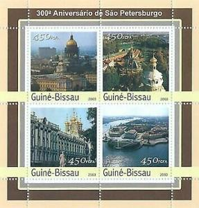 Guinea-Bissau - St. Petersburg - 4 Stamp Sheet - GB3115