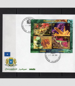 Somalia 2003 Dinosaurs Minerals LIONS ROTARY Emblem Sheet Imperforated in FDC