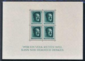 GERMANY B102 MINT NH SOUVENIR SHEET, HITLER