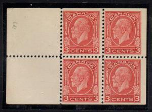 Canada Sc 197d 1933 c red G V stamp bklt pane of 4 mint