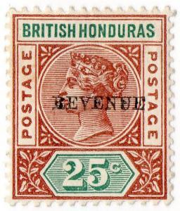 (I.B) British Honduras Revenue : Duty 25c (overprint error)