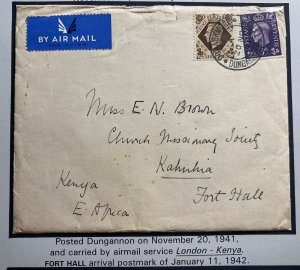 1941 Dungannon England Wartime Airmail Cover to Fort Hall Kenya With Letter