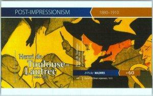 A0988 - MALDIVES -  IMPERF, Souvenir sheet: 2015, De Toulouse-Lautre, Art