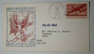 DPS Birthplace of Aviation Air Mail Kitty Hawk NC Philatelic Cachet Caover 1943