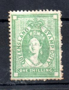 Queensland 1871-72 1/- green SG#F18 mint LHM Fiscal WS13457