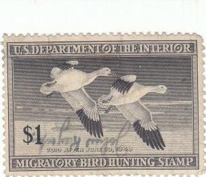 Scott #RW14 - $1 Black -1947-Federal Duck Stamp -Used - SCV - $16.00