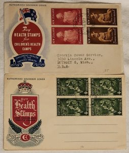 2 New Zealand Health Stamps Covers. 1952 Young Prince Charles 1953 Boy Scouts