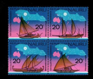 NAURU Scott 124-127a MNH** Block of 4 ship stamps