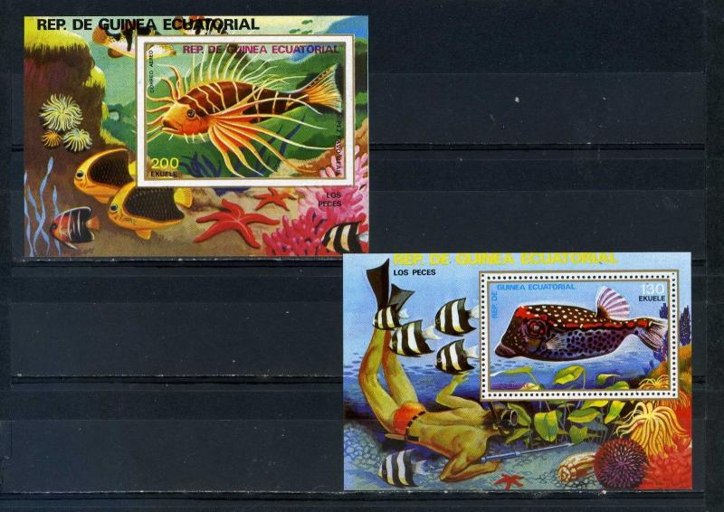 EQUATORIAL GUINEA FAUNA TROPICAL FISH 2 S/S PERF.& IMPERF.MNH
