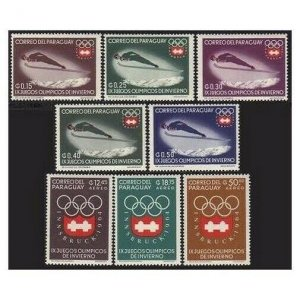 Paraguay 783-790,790a perf & imperf,MNH. Olympic Innsbruck-1964. Sky jump.