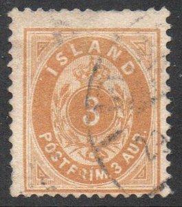 Iceland  Sc 22 1901 3 aur yellow stamp used