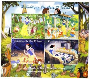 CARTOON Snow White Sheet Perforated Mint (NH)