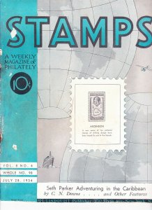 Stamps Weekly Magazine of Philately July 28, 1934 Stamp Collecting Magazine
