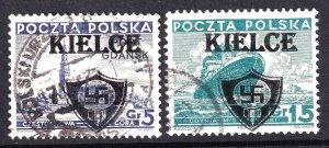 POLAND WW2 KIELCE OVERPRINTS  CDS F/VF SOUND x2 #2