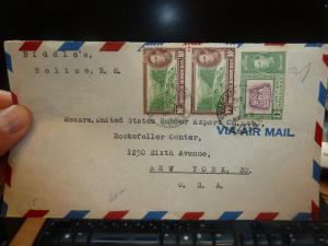 British Honduras KGVI 10c x 2 + 1c on cover to USA (7beg)