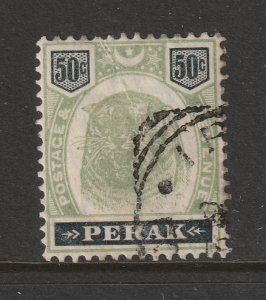 Perak the used 50c green & black tiger from 1895