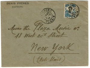 Indochina 1915 Haiphong cancel on cover to the U.S.