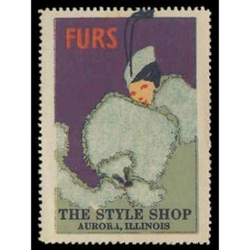 THE STYLE SHOP Furs  Advertising Poster Stamp