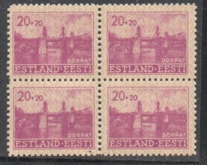 Estonia Sc NB2 1941 20 + 20 Stone Bridge Tartu stamp block of 4  mint NH